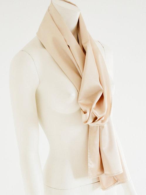 Satin white coffee scarf