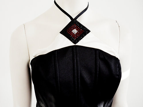 Black corset with Swarovski