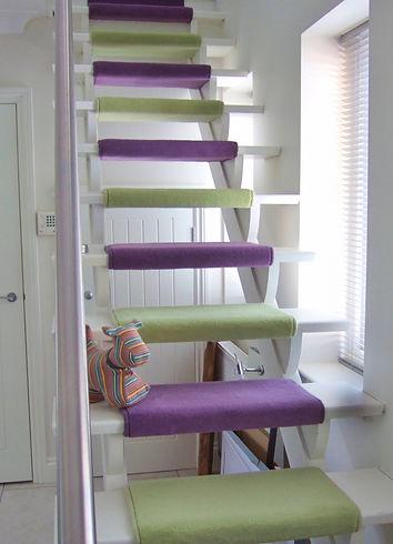 Westex Westend velvet carpet to open-plan staircase