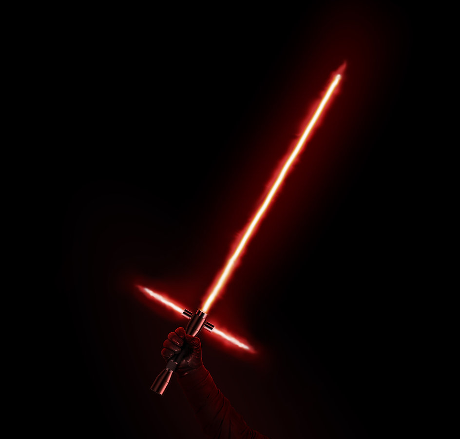 New red light saber holdng in hand isola