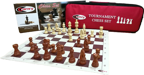Camry Wooden Chess Set c/w Travel Bag (Tournament)