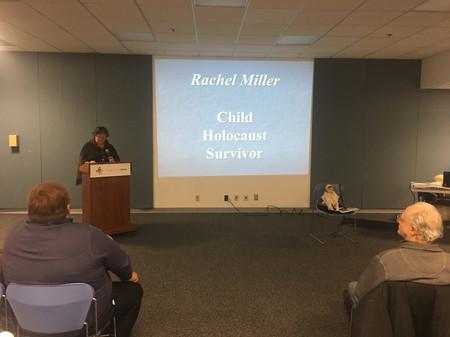 Ben Fainer's daughter Sharon Berry introducing Mrs. Miller