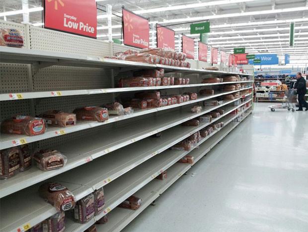 Local Walmart shelves after police arrest 4 mothers for fighting over baby formula.
