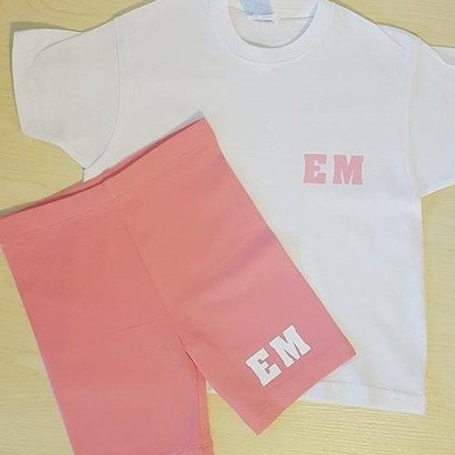 Girl's Pink Cycling Shorts & White T-Shirt Set