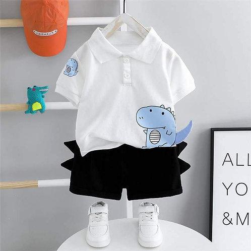 White/Navy Dino Polo Shirt & Shorts Set