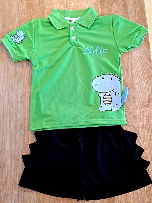 Green/Navy Dino Polo Shirt & Shorts Set