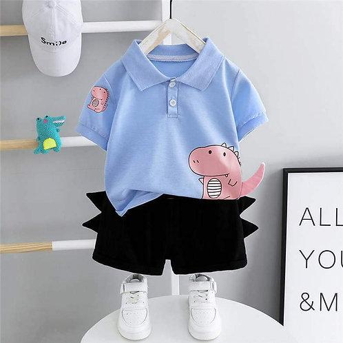 Sky/Navy Dino Polo Shirt & Shorts Set