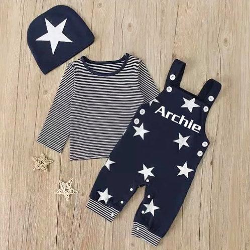3 Piece Navy Star & Stripes Set
