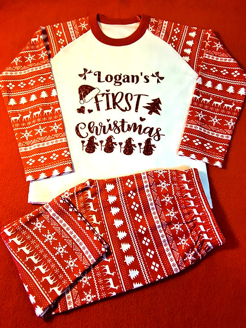 Red Christmas Pyjamas 6-12 Months Only