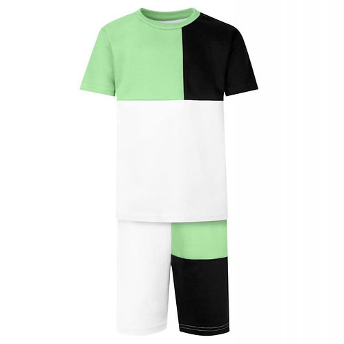 Panel T-Shirt & Short Set In Mint Green