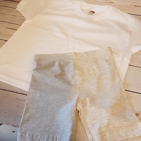 Girls Grey Cycling Shorts & White T-Shirt Set