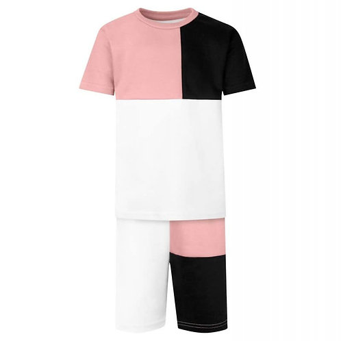 Panel T-Shirt & Short Set In Dusty Pink