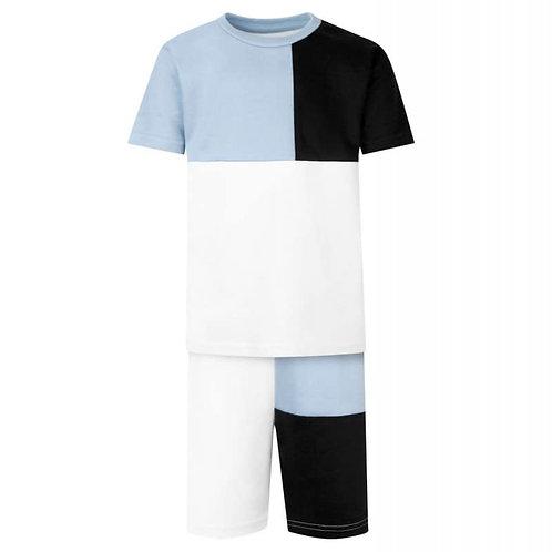 Panel T-Shirt & Short Set In Light Blue