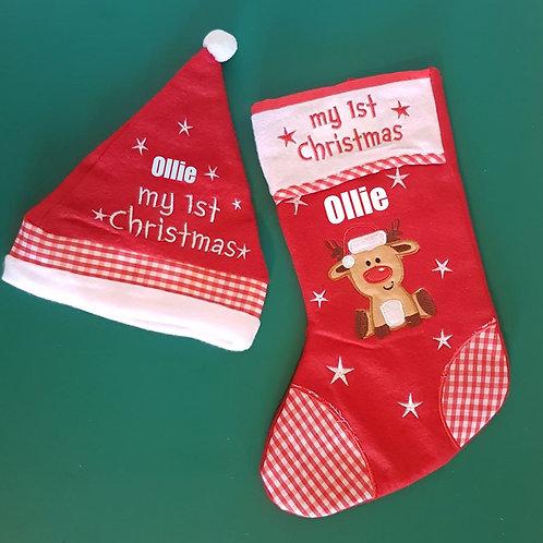 My 1st Christmas Stocking & Hat Set