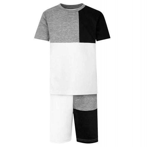Panel T-Shirt & Short Set In Grey