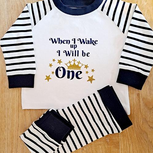 Blue & White Stripe Pyjamas (6-12 mths only)