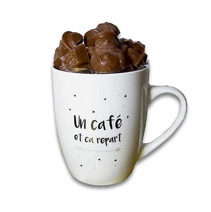 """MUG FRITURES DE NOËL-Chocolat au Lait-Motif """"Un Café""""-180 gr"""