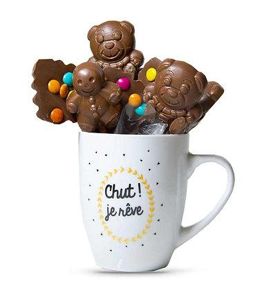 """MUG MIX SUCETTES-Chocolat au Lait-Motif """"Chut je rêve""""-180 gr"""