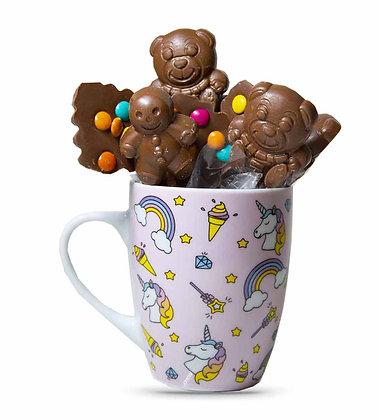 """MUG MIX SUCETTES-Chocolat au Lait-Motif """"Licorne Rose""""-180 gr"""