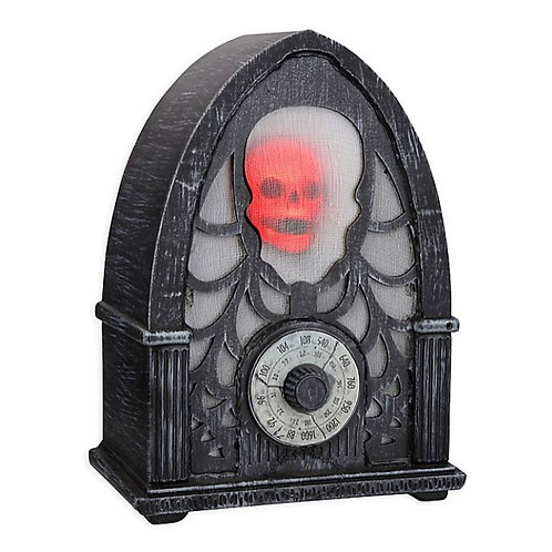 "Animated 12"" Haunted Skull Radio (Black)"