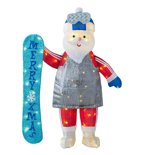 Illuminated 4ft Snowboarding Santa Claus