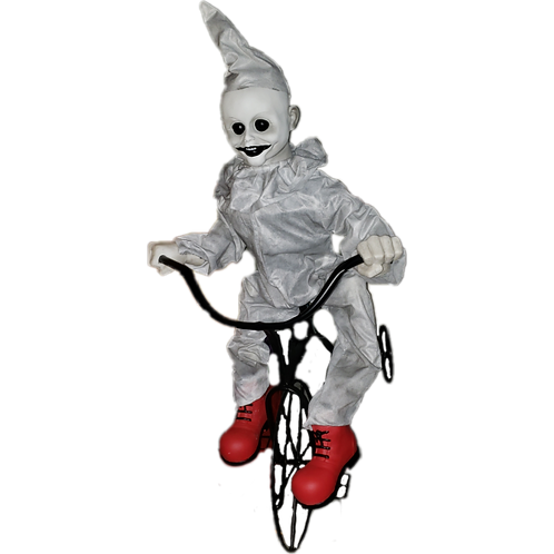 Animated 3ft Life-Size White Tricycle Clown
