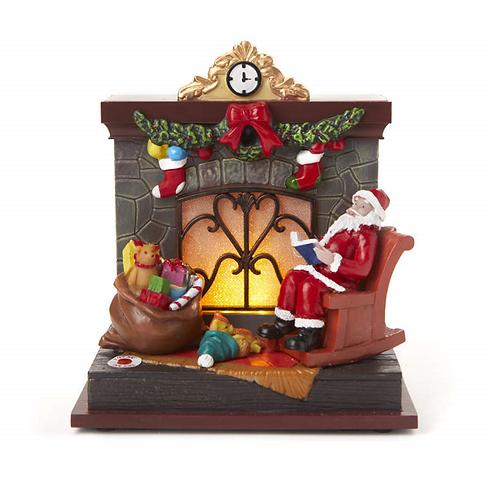"Illuminated 6"" Santa Claus & Fireplace Scene"