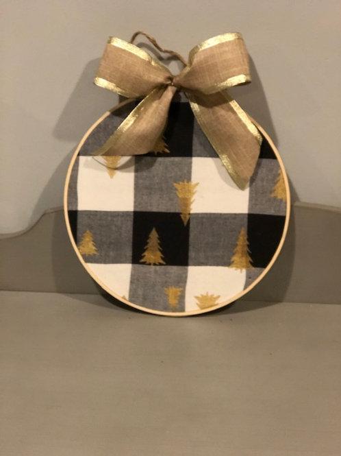 "12"" Hoop Wreath Solid Print w/ Bow"