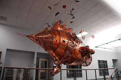 The contraption painted by Dean Loucks for Plymouth High School
