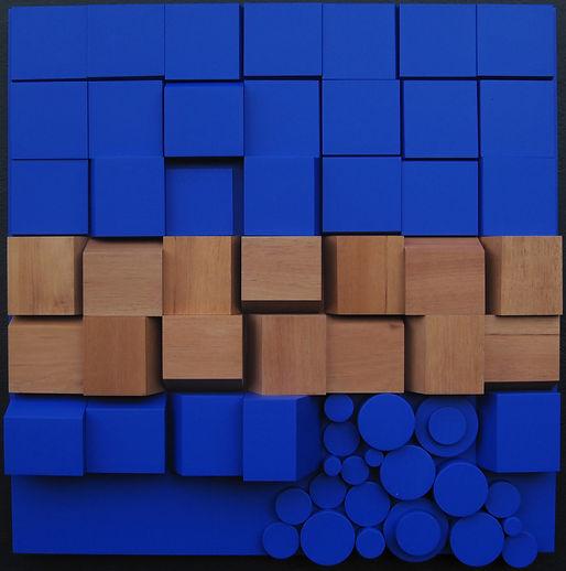 Espace Meyer Zafra, Joao Carlos Galvao, Relief Bleu Cobalt et Cèdre RG 51