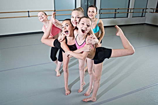Group of young girls having fun in dance
