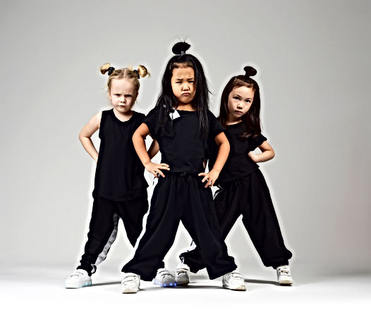 Group of three young girl kids hip hop d