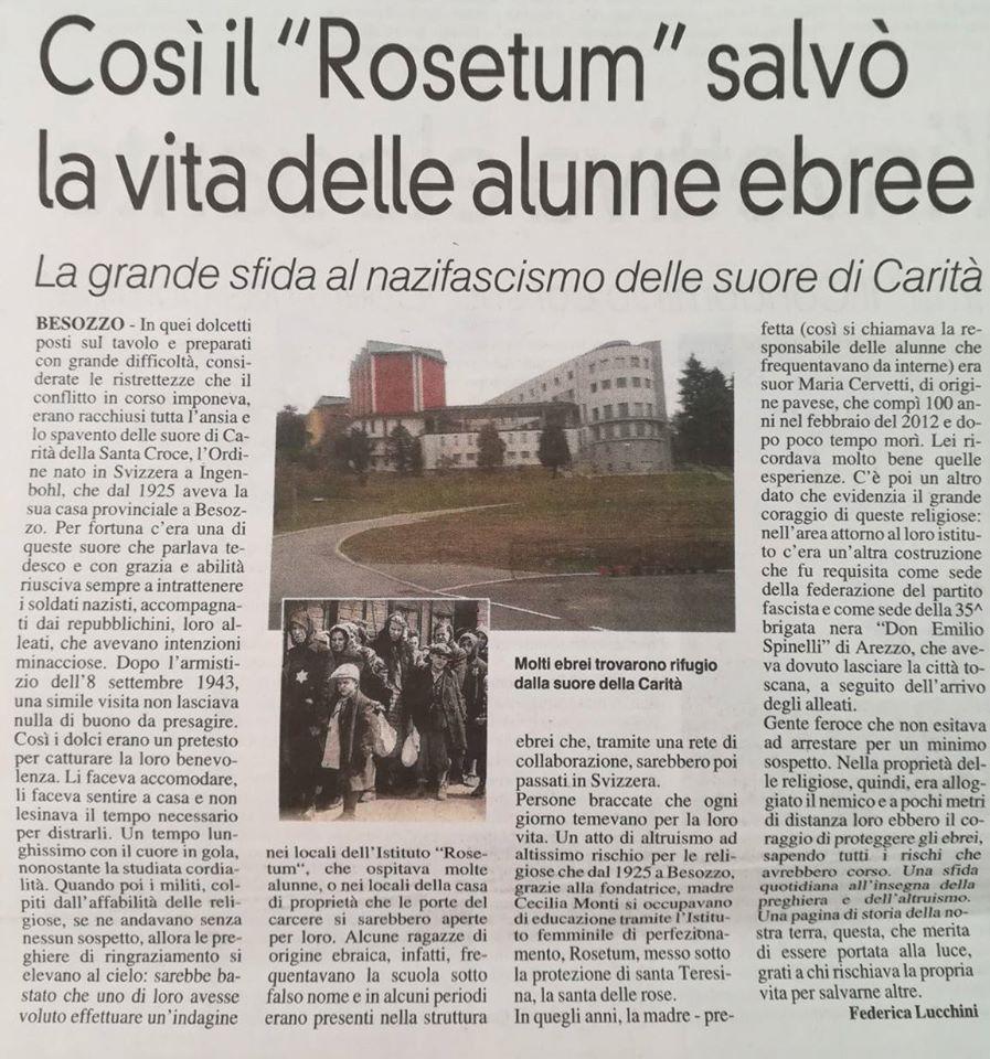 Il Rosetum salvò alunne ebree