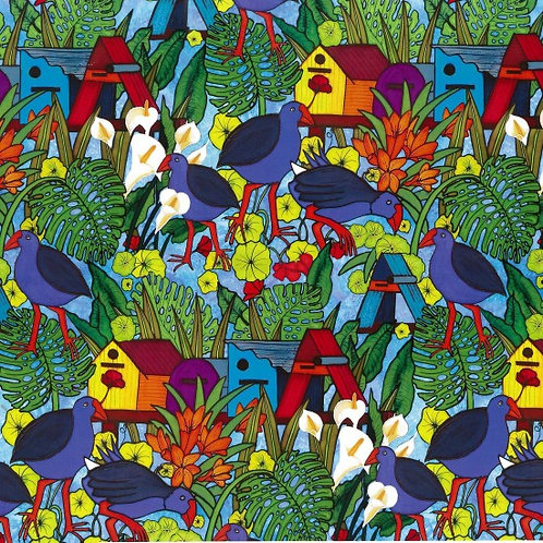 Nutex Novelty Pukeko Post Quilt Fabric 89710 Col1