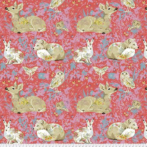 Odile Bailloeul Land Art Enchanted Forest Rose PWOB018.ROSE Quilt Fabric