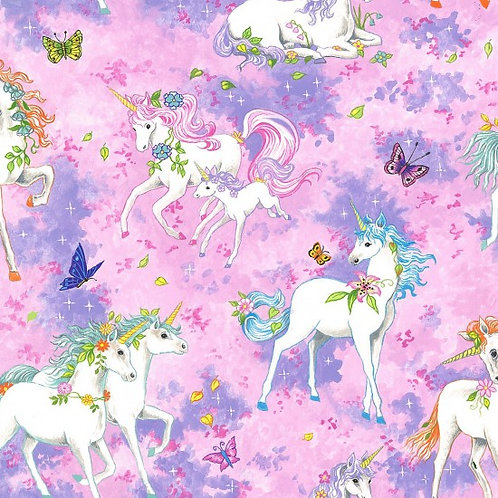 Nutex Novelty Pretty Please Unicorns Quilt Fabric