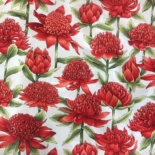 Nutex Australiana Warratah Flowers Red & White Quilt Fabric