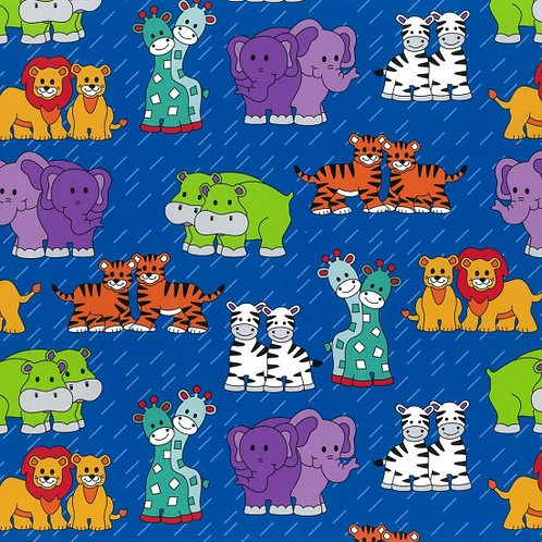 Nutex Novelty Little Noah Animals Royal 80190 Col2 Quilt Fabric