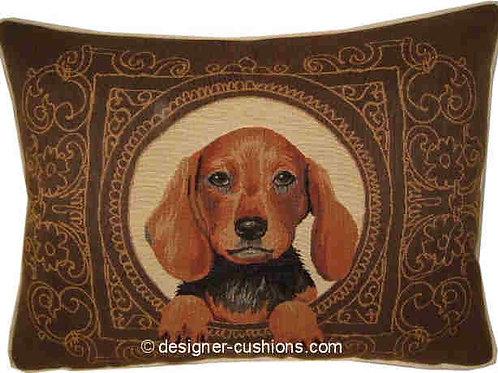 Medallion Dachshund Dark Tapestry Oblong Cushion Cover