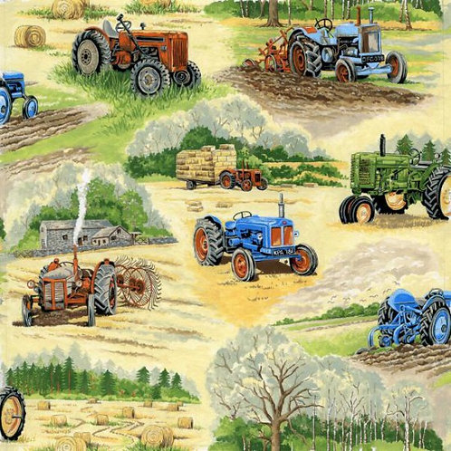 Nutex In The Country Farmyard Tractors Novelty Quilt Fabric