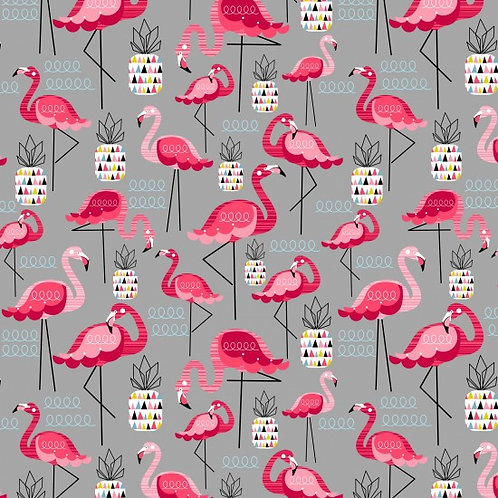 Nutex Novelty Flamingo Grey & Pink Quilt Fabric 89930 Col 1