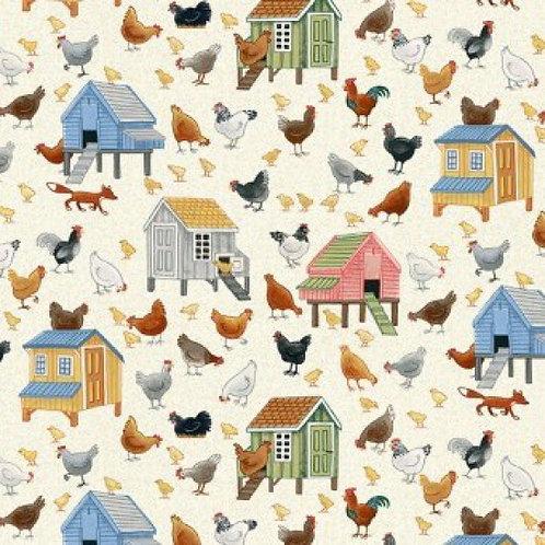 MakowerUK Village Life Chickens 94000 Col5 Quilt Fabric