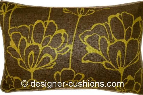 "Romo Simonii Khaki & Lime 40x25cm (16x10"") Oblong Cushion Cover"