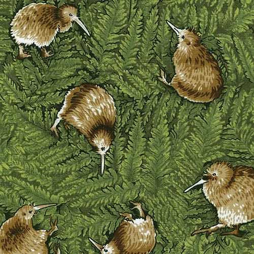 Nutex Kiwiana Kiwi Birds Dancing Te Taonga Kiwi Quilt Fabric