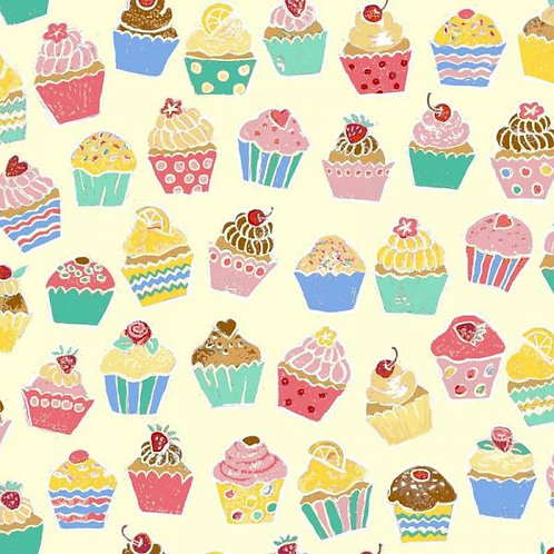Makower Retro Baked Cupcakes Quilt Fabric