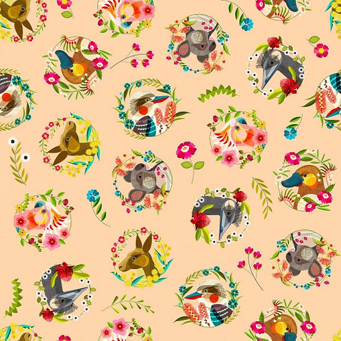 Nutex Novelty Aussie Friends Scatter 11750 Col2 Quilt Fabric