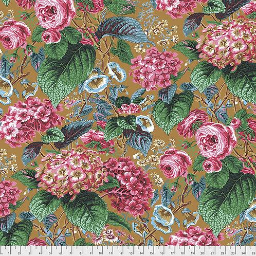 Kaffe Fassett Feb2020 - Rose & Hydrangea PWPJ097 OCHRE Quilt Fabric