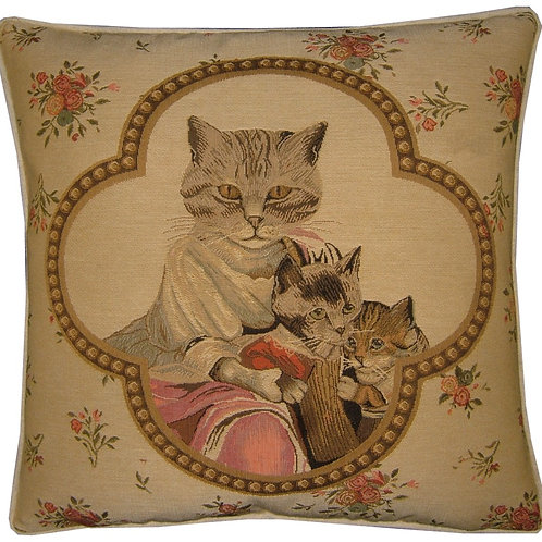 Susan Herbert Framed Family of Cats Tapestry Cushion Cover