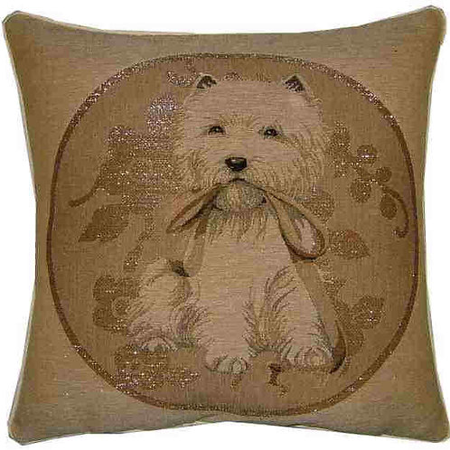 Westie West Highland Terrier in Silver Circle Tapestry Cushion Cover