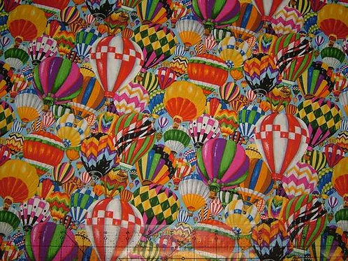 Nutex Novelty Up Up & Away Hot Air Balloons Bright Quilt Fabric